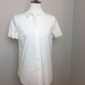 Kate Spade white blouse with scalloped sleeve
